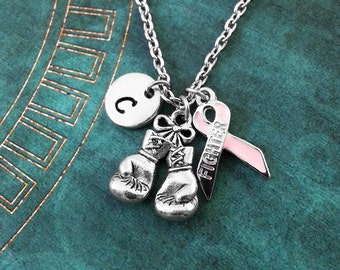 Boxing Gloves Necklace Personalized Jewelry Boxing Necklace Cancer Survivor Fighter Ribbon Boxing Jewelry Fighter Necklace Boxing Gift