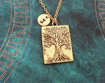 Tree Necklace Willow Necklace Tree Relief Necklace Tree Pendant Necklace Tree Jewelry Nature Jewelry Tree of Life Necklace Monogram Necklace