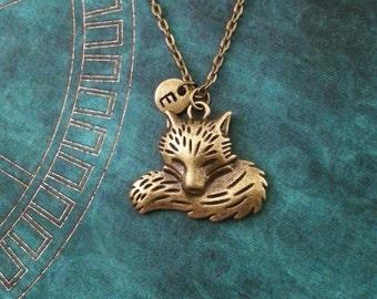 Fox Necklace Fox Jewelry Personalized Jewelry Monogram Necklace Bronze Fox Gift Brass Fox Pendant Necklace Fox Charm Necklace Bronze Jewelry