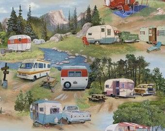 Retro Camper Fabric, Elizabeths Studio ELS3502, Camping Fabric, Vintage Trailers, Summer Fabric, Travel Trailer, Cotton Fabric Yardage