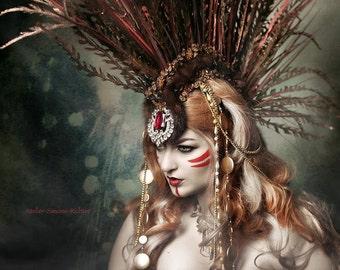 Ready to Ship huge impressive Mohawk Headdress gold warrior fur Trim Headpiece Lady Gaga