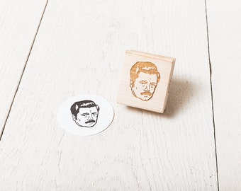 Ron Swanson - Rubber Stamp Portrait