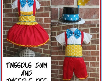 Tweedle Dum or Tweedle Dee costume, one boy or one girl costume