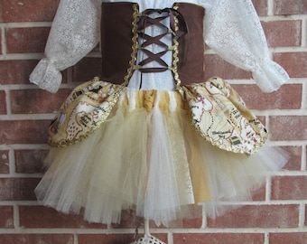 Pirate Costume Gold and Ivory Lace, Girls pirate costume