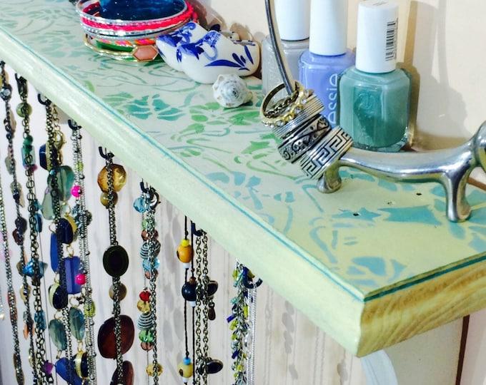 floating shelves /farmhouse bedroom shelf /necklace holder /reclaimed wood decor /wall hanging jewelry storage/ makeup organizer 21 hooks