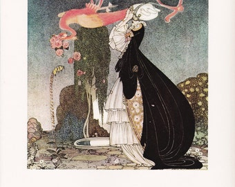 Kay Nielsen vintage art nouveau print illustration folk tale fairy tale home decor Rosanie or the Inconstant Prince 8.5x11.5 inches