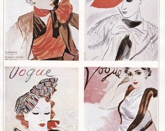 Vogue Magazine Cover hats millinery art deco art nouveau home decor print fine art fashion vintage 8.5 x 11.5 inches