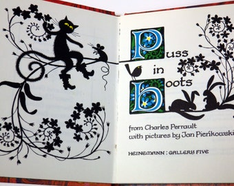 Cute vintage 1970s Puss in Boots book - silhouette art and marbling