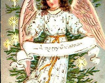 German Christmas Angel 1908 Postcard