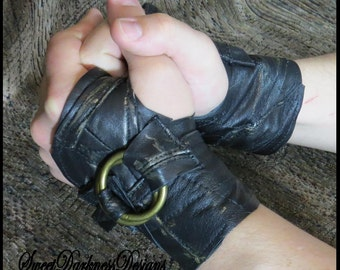 BIKER GLOVES Leather Gloves Apocalyptic Fingerless LEATHER Gloves Black Gothic Biker Gloves & Accessories by SweetDarknessDesigns
