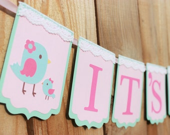 Mommy and Baby Bird Baby Shower banner - Light pink, pink and mint - Birdie baby shower banner
