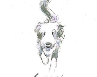 Personalized Custom Pen and Ink Dog Portrait