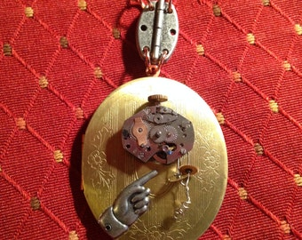 Steampunk Reversible Locket Necklace!
