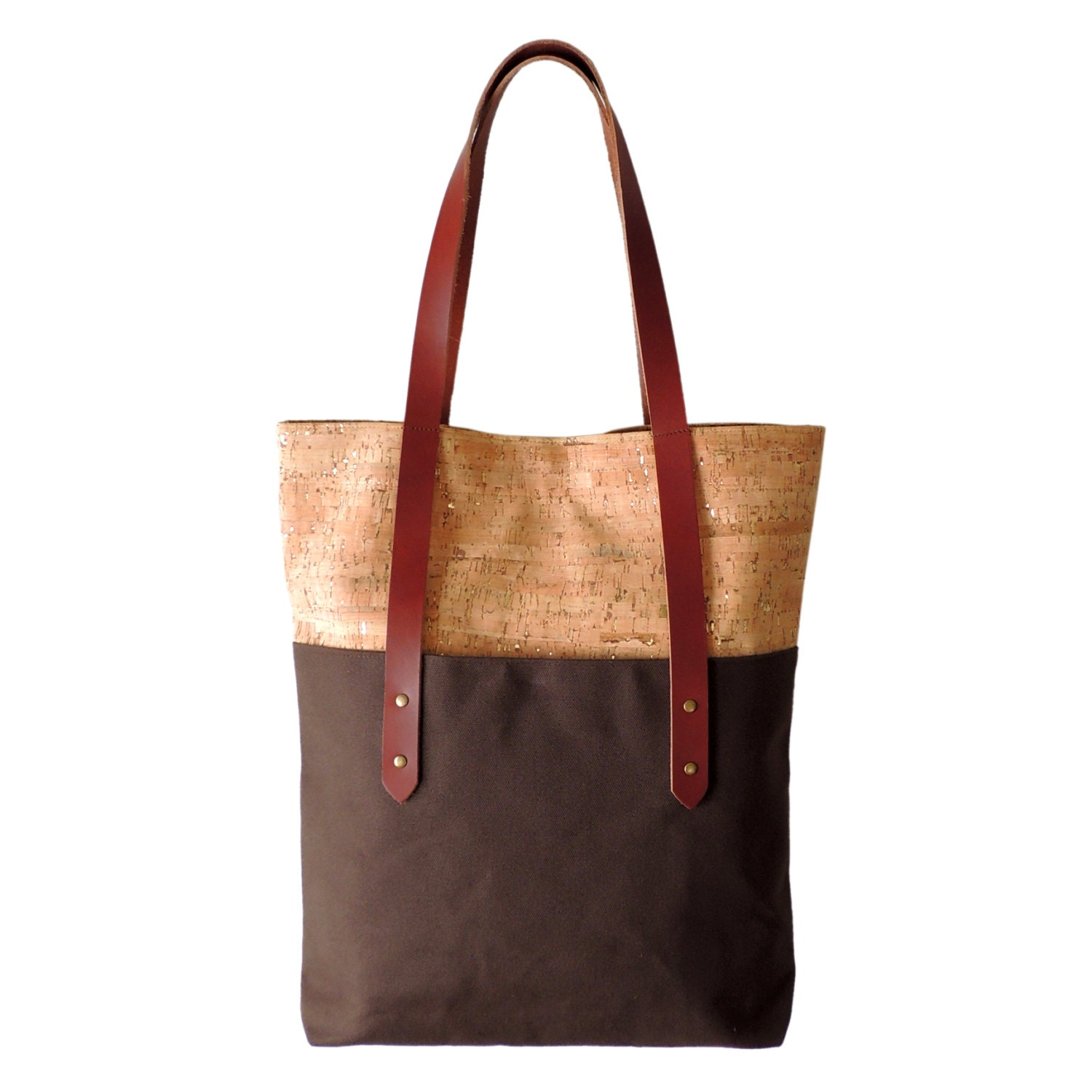 Cork Handbags: Large Brown Tote Bag Cork Canvas And Leather Tote By