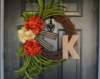 Fall Hydrangea Wreath, Autumn Wreaths, Hydrangea Wreath, Front Door Wreath, Year Round wreath, Monogram wreath, Initial Wreaths