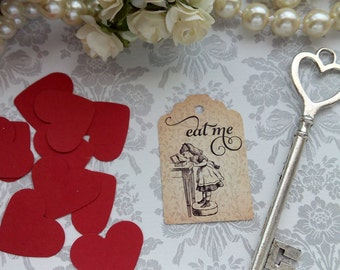 Alice in Wonderland Tags, Eat me Tags, Wedding Tags, High Tea Tags. Tea Party Tags. Set of 25 to 300 pieces, Custom Language available.