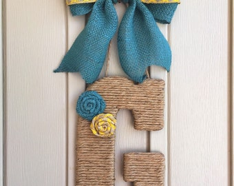 Large Jute Twine Wrapped Wooden Letter with Two-Toned Burlap Bow and flowers