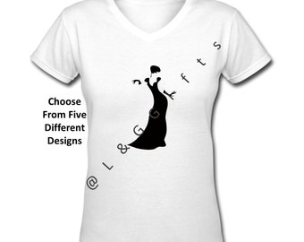 Glamour Gals, Womens Tshirts, Vneck Tshirt, Silhouette Art, Womens Tops, Ladies clothing, Gifts for sister, Gifts for her, Gifts for mom