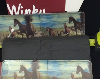 Vintage Black WALLET // wild horses // horses // classic fold wallet // billfold // Made in the USA by Winky&Dutch