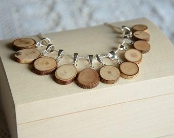Minimalist wooden pendant, natural wood pendant, men wooden necklace, men raw wood jewelry, minimalistic wooden jewelry