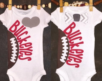 Ohio State Buckeyes Personalized Heart OR Bow Tie Team Football Onesie/T-Shirt