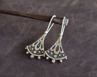 Sterling Silver Earrings,Floral Earrings Etched,Bohemian Earrings,Boho Earrings,Dainty Earrings,Unique Jewelry,Tribal Earring Ethnic,Big