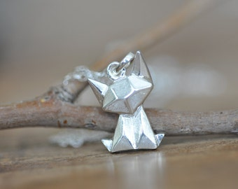 Sterling Silver Origami Cat Necklace, Fox Necklace, Cat Necklace, Cat Charm, Origami Jewelry, Cat Jewelry, Jamber Jewels Original