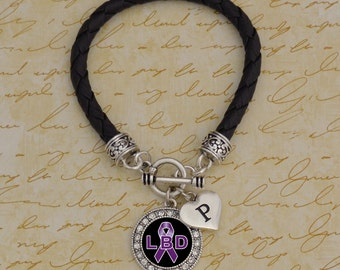 Custom Initial Lewy Body Dementia Leather Bracelet