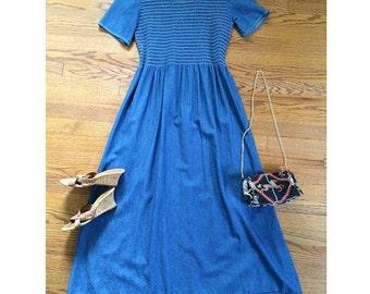 Vintage 80s 90s Short Sleeve Empire Waist DENIM Long DRESS Chambray Hippie Festival M