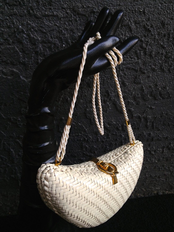 Vintage 1960 S Italian Cream Woven Wicker Handbag With