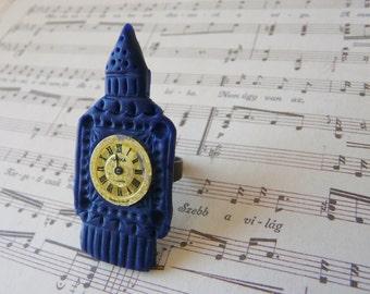 Big Ben Ring, London Ring, England Ring, Navy Blue Ring, Blue Adjustable Ring, Navy Statement Ring,Traveler Gift