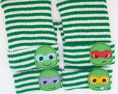 SALE Green and White Striped Knit with Turtle Felt Newborn Hospital Hat  - Photo Prop