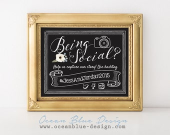 Being Social – Personalized Social Media Hashtag Print for Wedding, Engagement, Showers, and Events, Instagram Twitter and Facebook