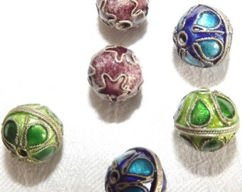 Vintage Cloisonne Focal Beads High Relief 10mm in diameter 1980s Price per coloured pair Green Purple Blue