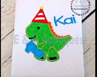 Dino 1st Birthday Applique Design -  Dinosaur Applique Design - Birthday Applique Design