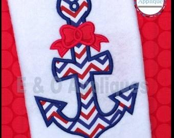 Anchor Bow Applique Design - Anchor Applique - Nautical Applique Design - Anchor Embroidery Design - Machine Embroidery Design