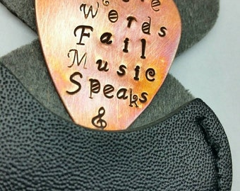 Where Words Fail Music Speaks, Custom guitar pick, guitar pick keychain, lyric jewelry, handstamped gift, musician gift, valentines day gift