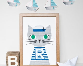 Sailor cat nursery print, nautical children's wall art, A4 (21cm x 29.7cm/11.7inches x 8.3inches)