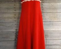 Vintage Red Velvet Prom Christmas Party Dress Retro 70's Formal Evening Ball Gown Long Maxi Dress Women's Size Medium M