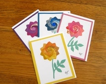 Set of 4 Homemade Iris Fold Summer Bouqet Note Cards, Blank All Occassion - with Flower Images Made of Colorful Repurposed Materials