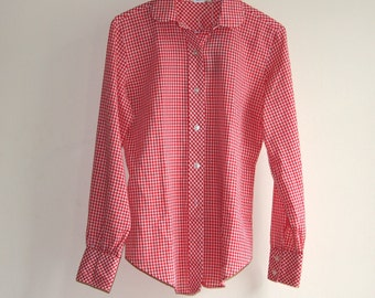 Vintage Gingham Peter Pan Collar Blouse Shirt Top (M/L)