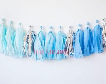 Blue Ombre Tassel Garland, Blue Ombre Garland, Blue Ombre Decor, Baby Boy Shower Decor, Baby Boy Nursery Garland, Boy Birthday Banner