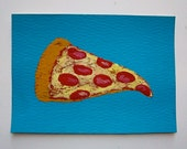 "Pizza Time #78 (ARTIST TRADING CARDS) 2.5"" x 3.5"" by Mike Kraus"