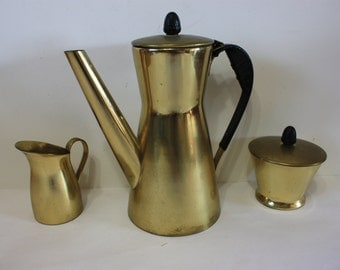 Algerian Solid Brass Coffee Set - Coffee Pot , Creamer and Sugar Container