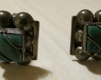 Mexican Sterling Silver and Green Stone Screw On Earrings