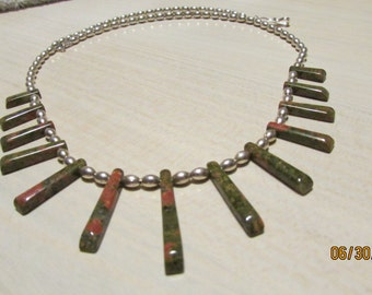 "Unakite Tabs Strung on Sterling Silver Melon beads. 19"" Long"