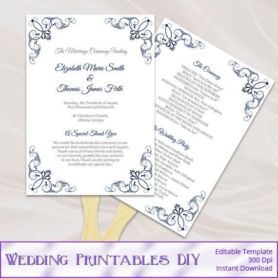 Navy Wedding Program Fan Template Diy Printable Order Of