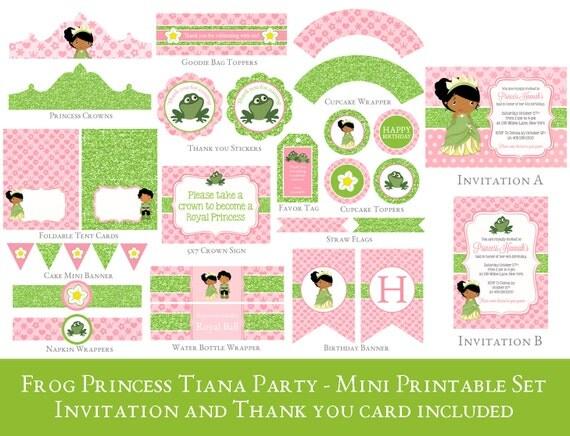 Princess Tiana Party Printable Set Frog Princess Birthday – Princess Tiana Birthday Invitations