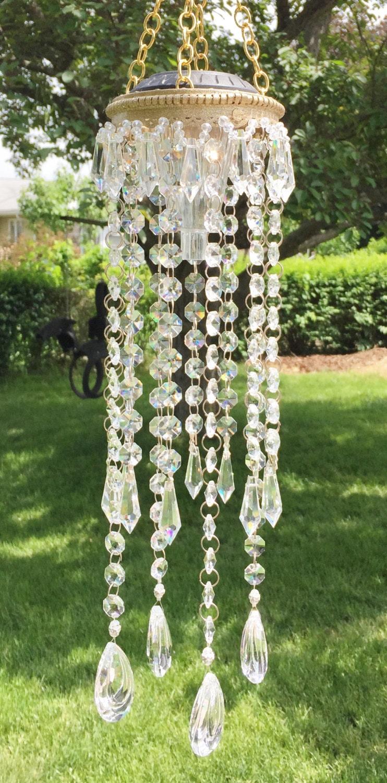 Solar chandelier light crystal clear glass outdoor or for Solar light chandelier diy