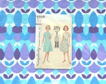 sewing club - 60s dress pattern simplicity 4818- size 16-bust 36. easy beginners pattern - DIY homemade vintage dress. dressmaking
